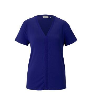 Tom Tailor Dames t-shirt blauw korte mouw