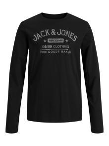 Jack & Jones Junior Kids t-shirt Zwart lange mouw
