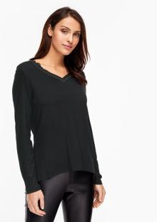 S.Oliver Premium Dames t-shirt Zwart lange mouw