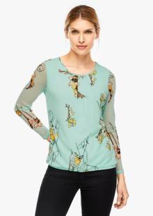 S.Oliver Premium Dames t-shirt Groen lange mouw