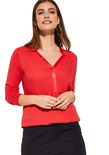 Comma by s.Oliver Dames t-shirt Rood lange mouw