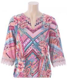 K-design Dames t-shirt Roze 3/4-mouw