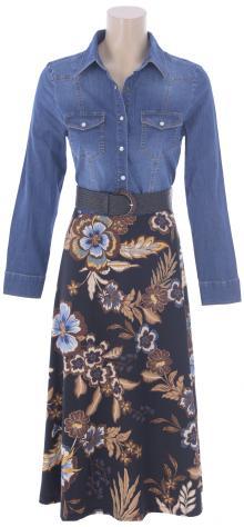 K-design Dames jurk Jeans lang
