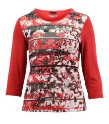 Lebek Dames t-shirt Rood 3/4-mouw