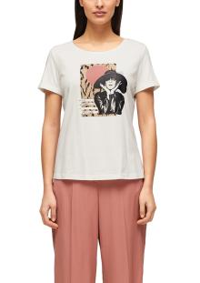 S.Oliver Premium Dames t-shirt Ecru korte mouw