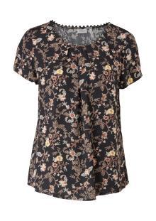 S.Oliver Premium Dames hemdsbloes Zwart korte mouw